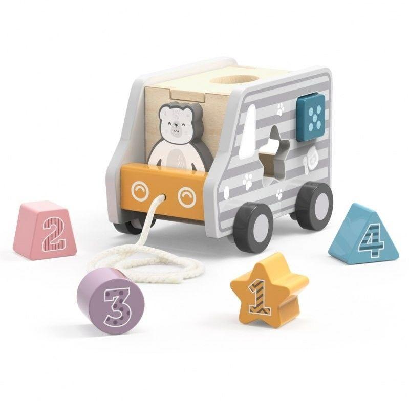 Viga Toys PolarB Drewniany samochód do ciągnięcia sorter