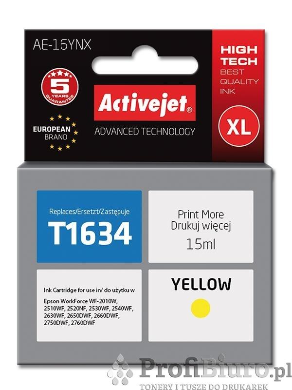 Tusz Activejet AE-16YNX (zamiennik Epson 16XL T1634; Supreme; 15 ml; żółty)