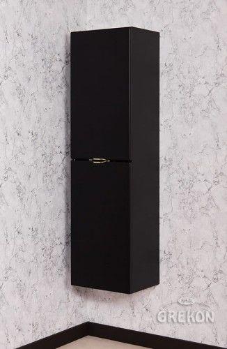 Regał łazienkowy czarny 40x143,5cm, Złoty uchwyt, Styl Glamour, Gante VICTA