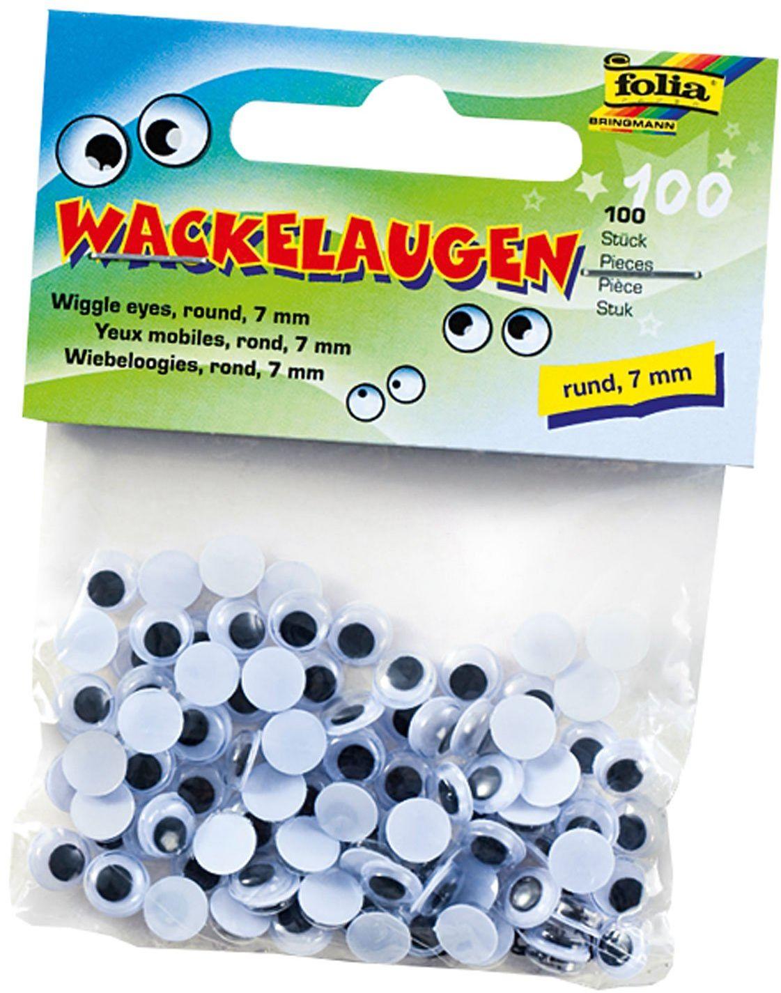 folia 750007  ruchome oczy z ruchomymi źrenicami, białe, okrągłe ok. 7 mm, 100 sztuk  idealne do tworzenia figurek i zwierząt