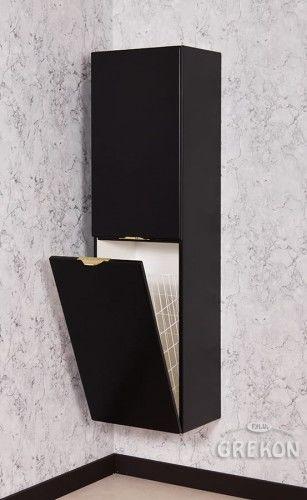 Regał łazienkowy z koszem, czarny 40x143,5cm, Złoty uchwyt, Styl Glamour, Gante VICTA