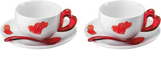 Filiżanki do cappuccino love ze spodkami 2 szt.