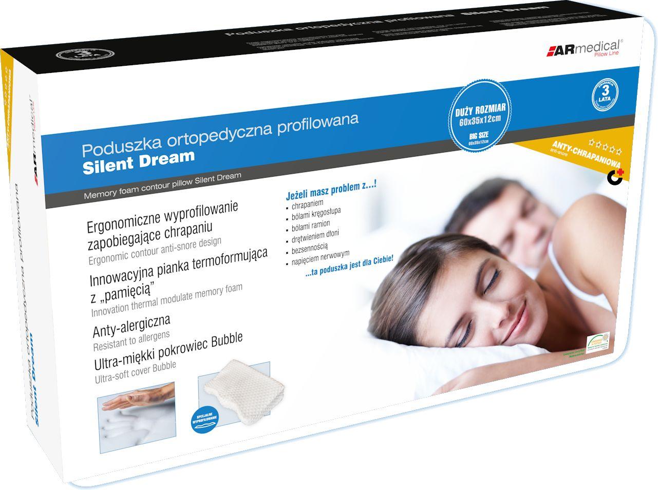 Bardzo Duża poduszka ORTOPEDYCZNA z systemem zapobiegającym chrapaniu (silent dream MFP-6035)