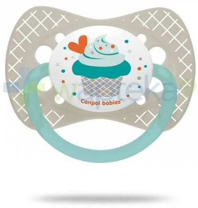 Canpol Babies smoczek silikonowy symetryczny cupcake szary 0-6mc 1 sztuka [23/282]