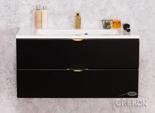 Szafka łazienkowa czarna 80cm z białą umywalką dolomitową KIDDY, 2 Szuflady, Złote uchwyty, Styl Glamour, Gante VICTA