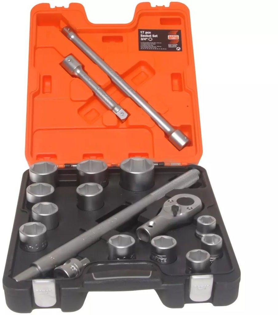 zestaw kluczy nasadowych 6-kątnych 3/4'', 22-50mm, 17szt. BAHCO [SLX17]