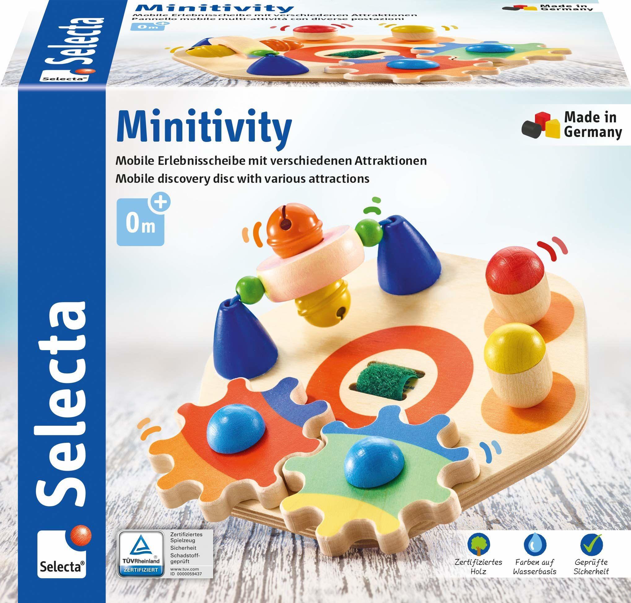 Selecta 62036 Minitivity, zabawka motoryczna z drewna, 14 cm