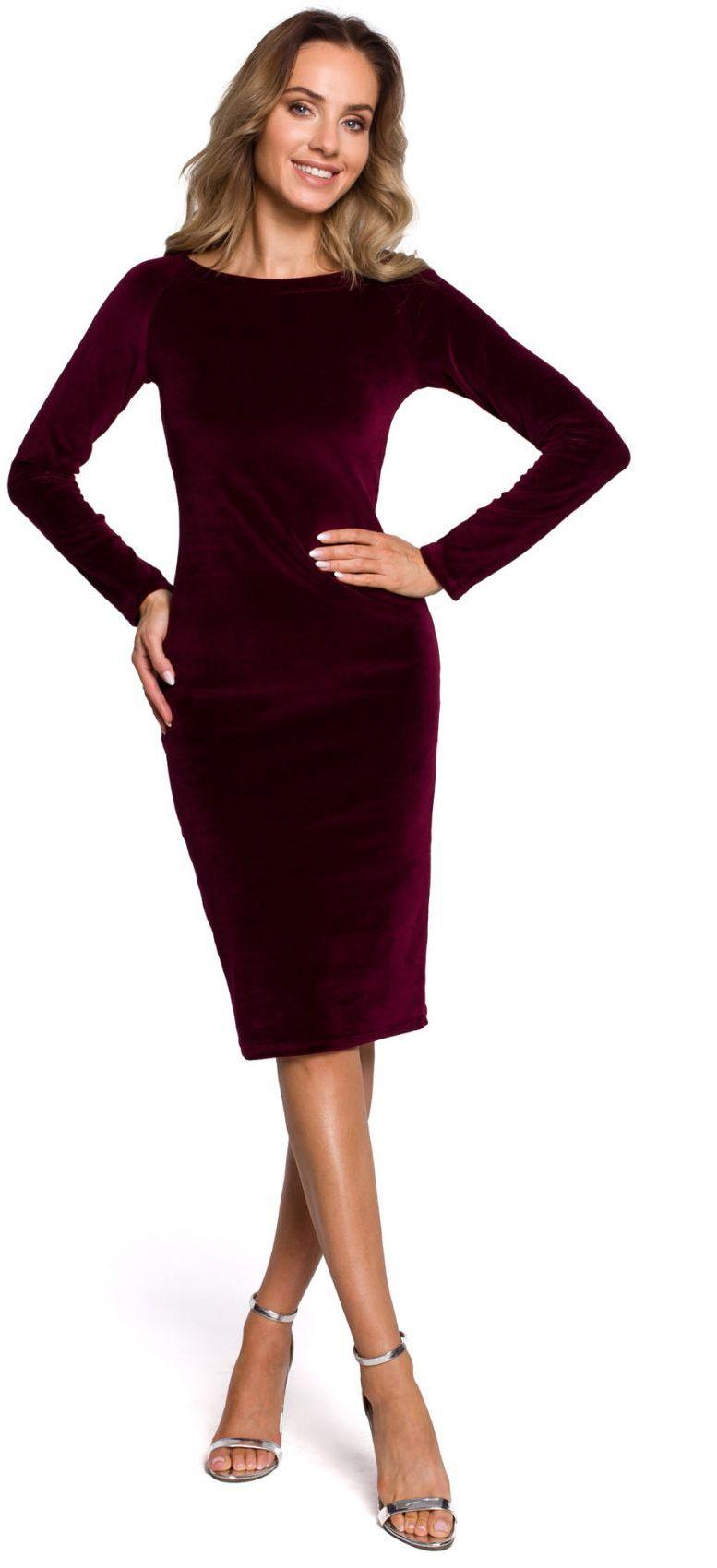 M565 Welurowa sukienka ołówkowa - bordowa