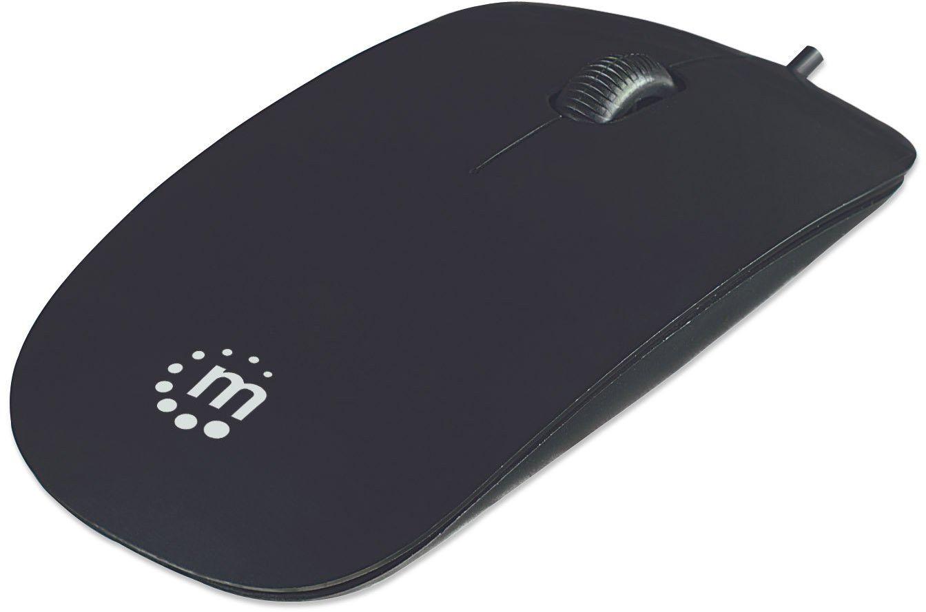 Manhattan 177658 mysz optyczna Slim (USB - trzy przyciski plus kółko myszy - 1000 dpi), czarna