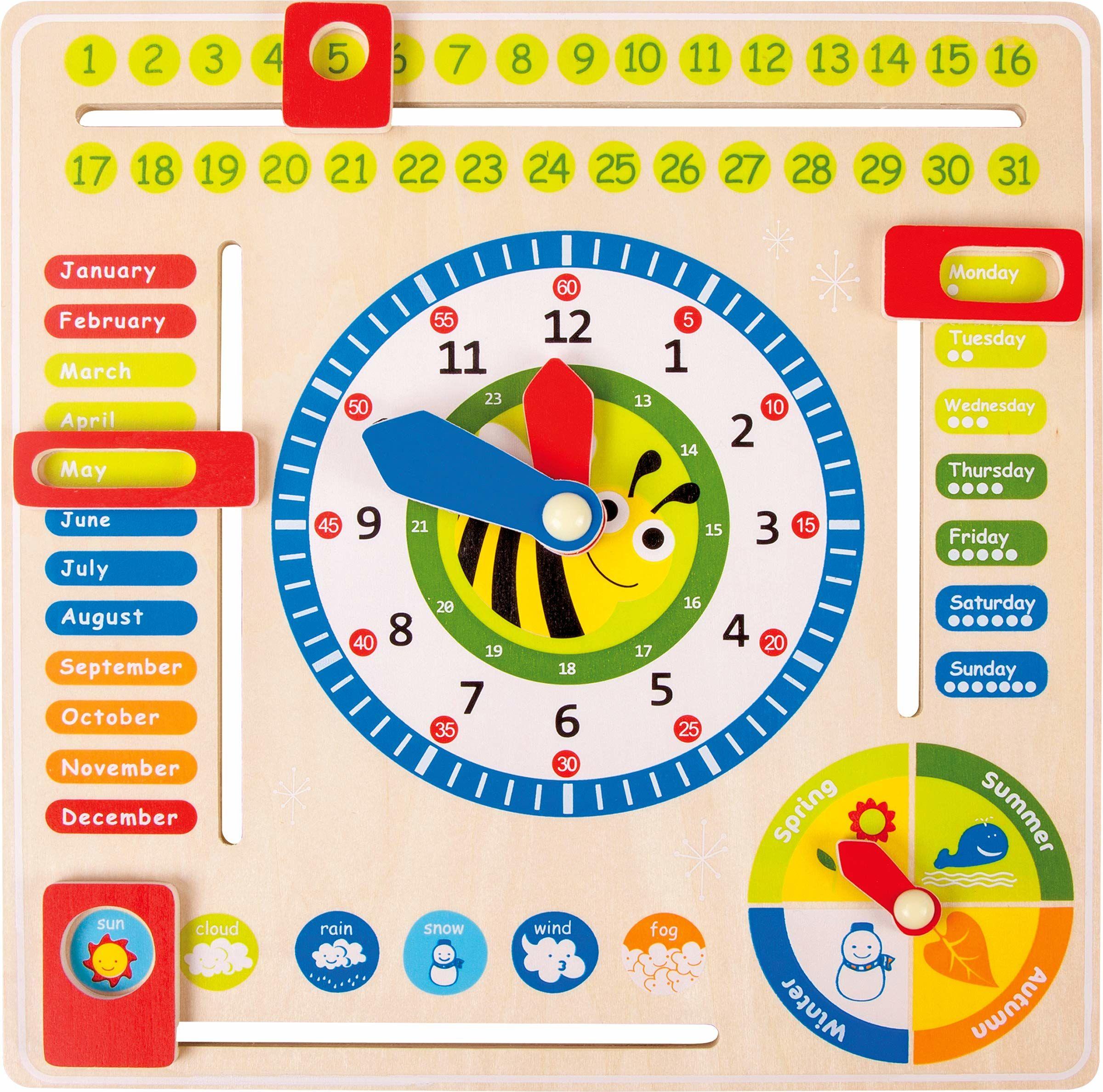 """small foot 4768 tablica do nauki """"data, zegar i pory roku"""" w języku angielskim, wykonana z drewna, z rękami i pudełkami, od 3 lat"""