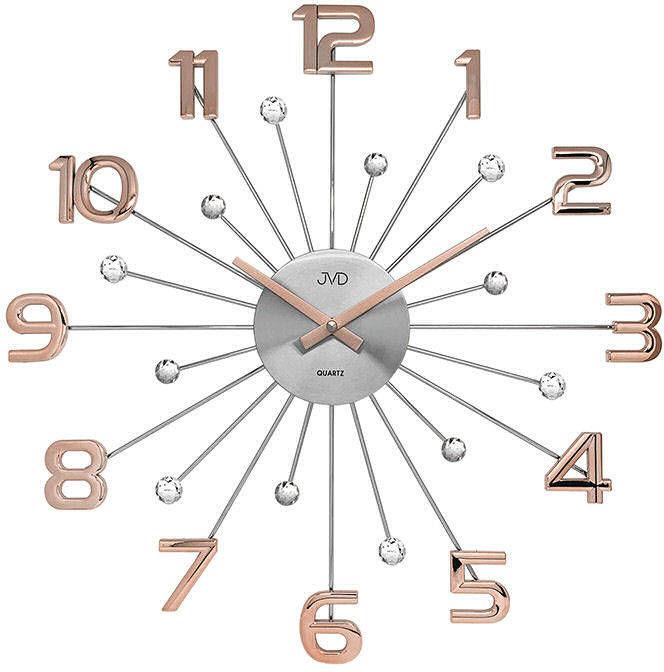 Zegar ścienny JVD HT109.4 z kryształkami, średnica 49 cm