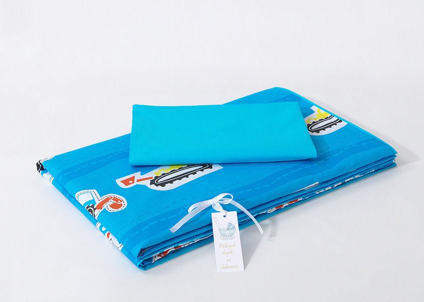 MAMO-TATO pościel dla dzieci dwustronna 2-el Auta niebieskie / niebieski - 90x120