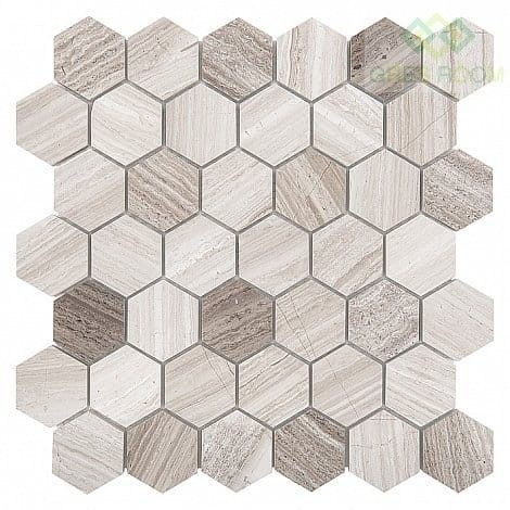 Mozaika Dunin Woodstone Grey Hexagon 48