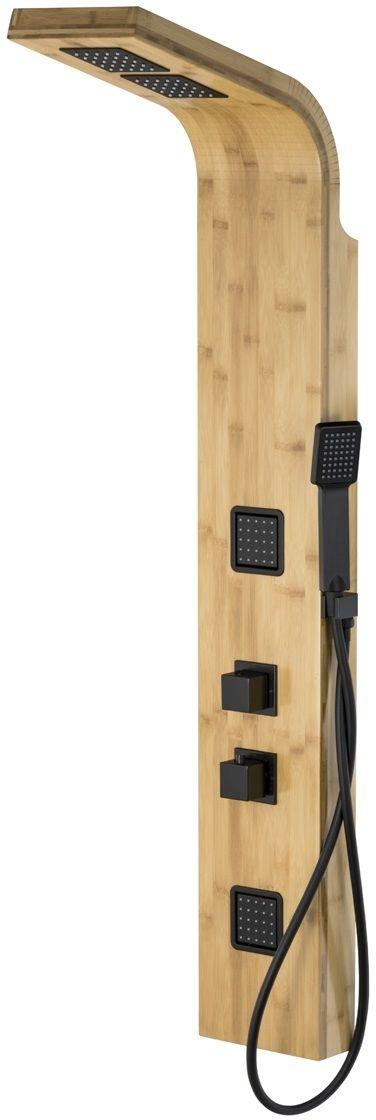 Corsan Bao panel natryskowy z termostatem czarny drewno bambusowe B-022TBC