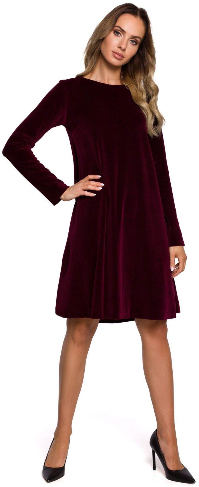 M566 Welurowa sukienka trapezowa - bordowa