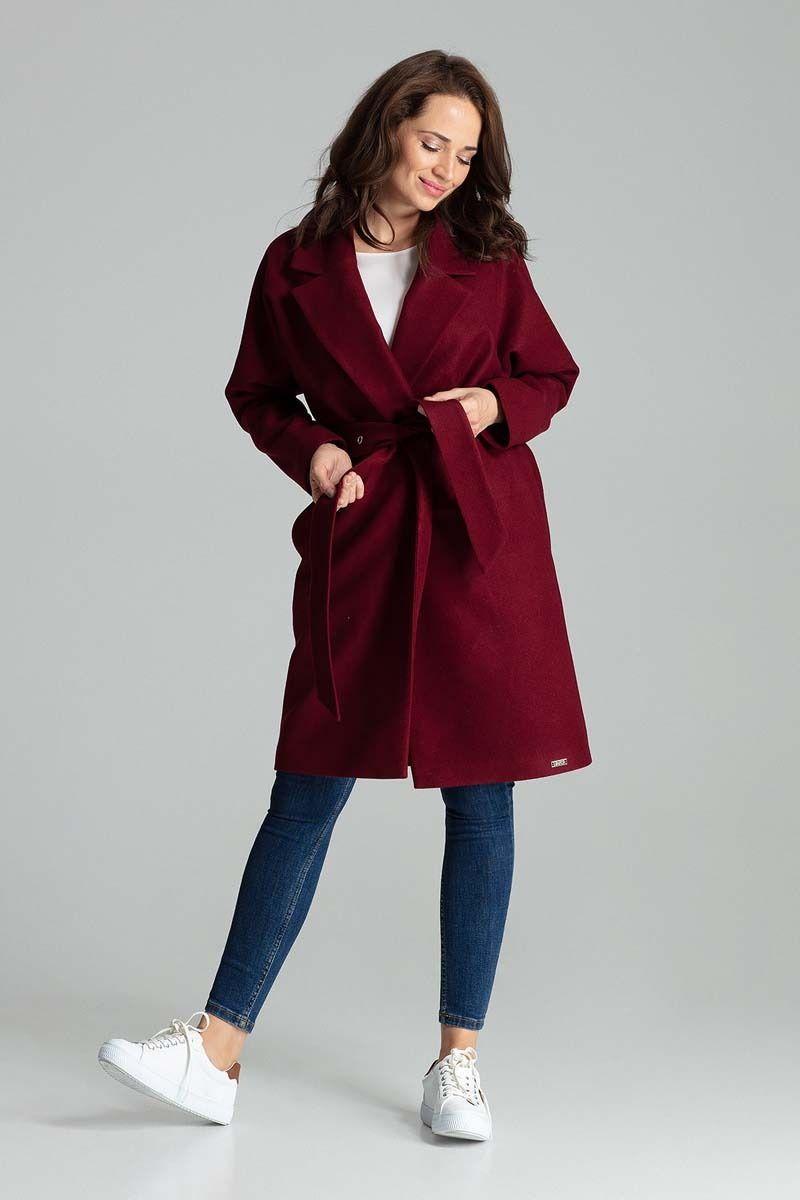 Bordowa niezapinany prosty płaszcz z paskiem