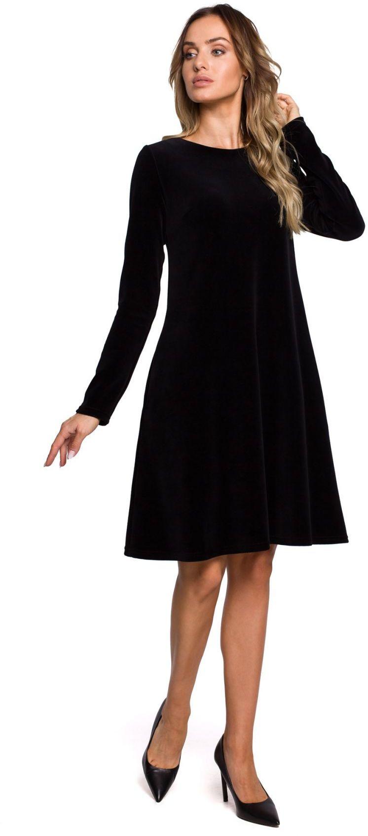 M566 Welurowa sukienka trapezowa - czarna