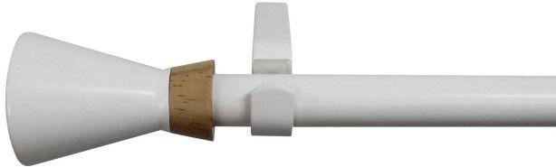 Karnisz regulowany pojedynczy 19 mm 120-210 cm stożek biały/drewno