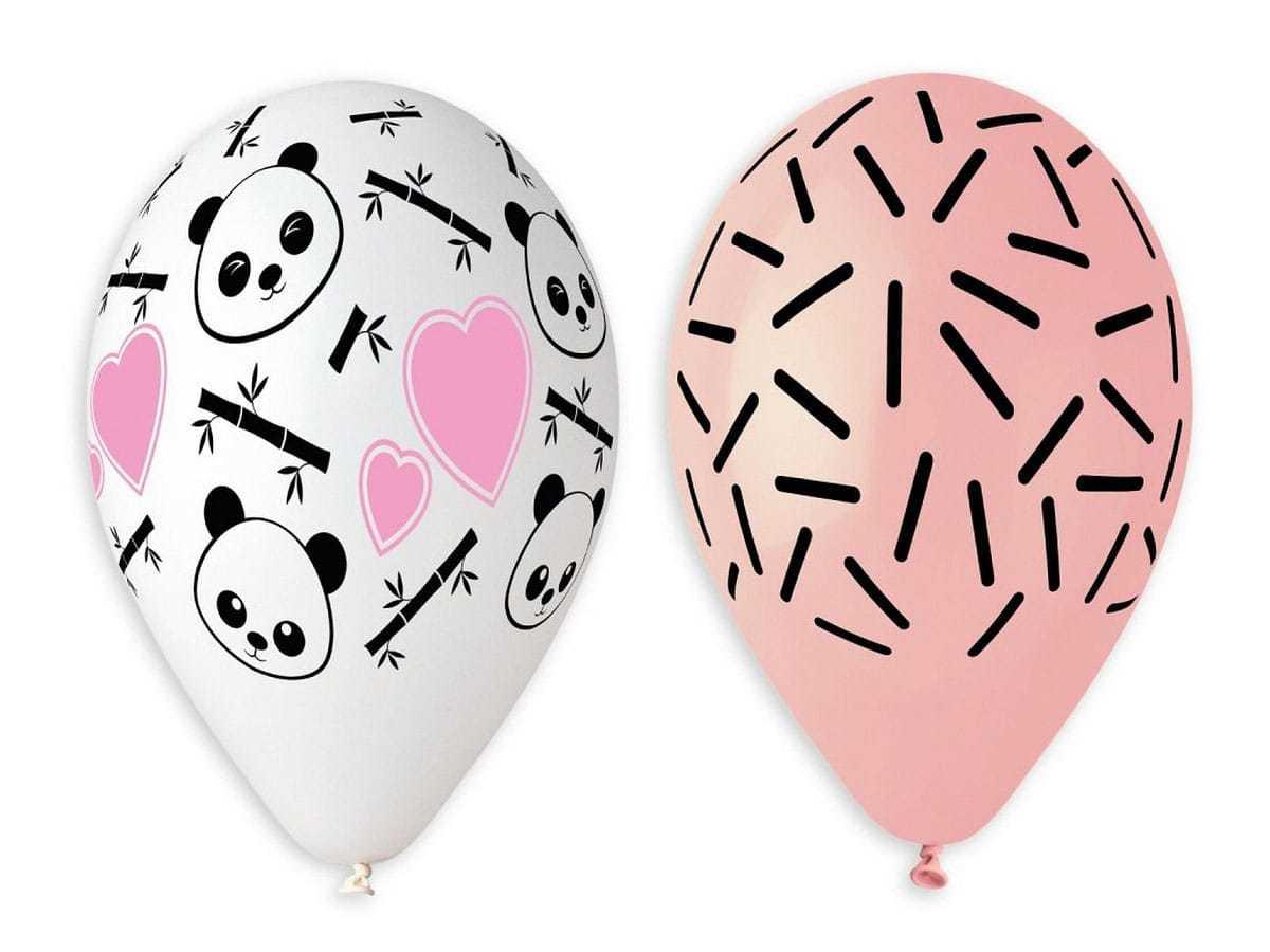 Balony pastelowe Panda i serca - 33 cm - 5 szt.