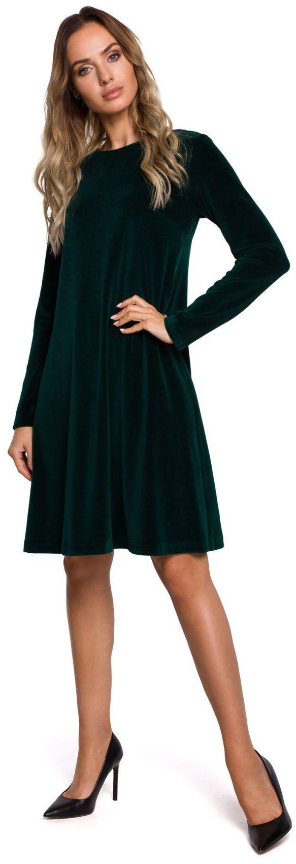 M566 Welurowa sukienka trapezowa - zielona