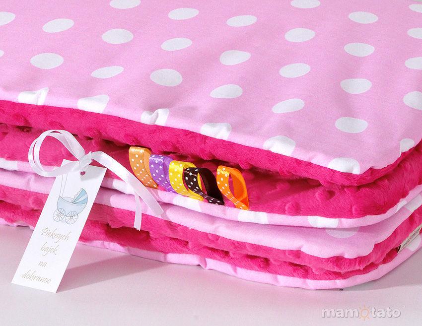 MAMO-TATO Zabawka Pościel minky dla lalek Grochy różowe / fuksja