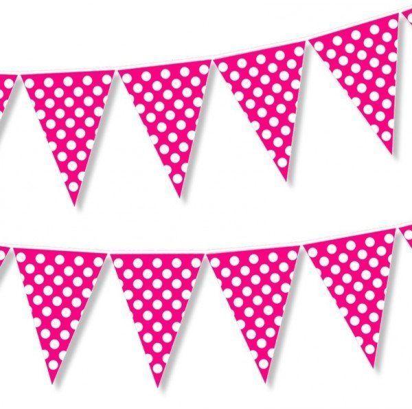 Girlanda flagi różowe w białe kropki 2m 1szt CHR1