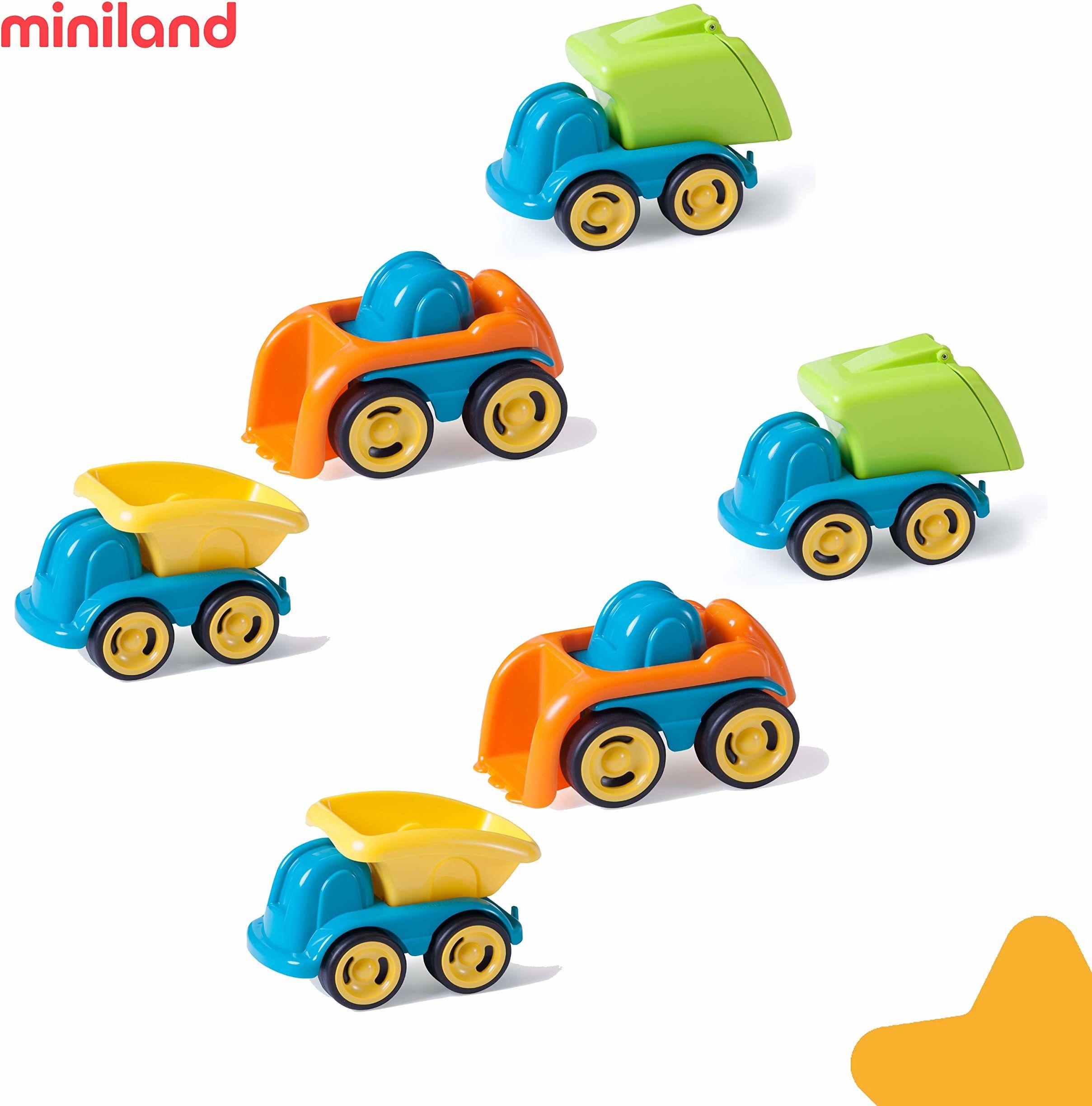 Miniland Miniland27469 Minimobil pojemniki na śmietniki (6-częściowy), wielokolorowe