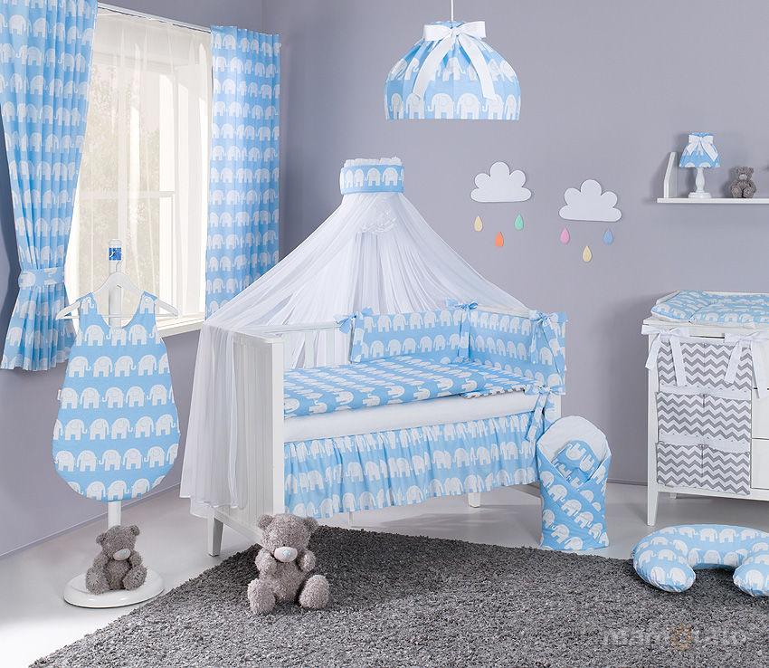 MAMO-TATO Moskitiera baldachim z szarfą z tkaniny Słoń niebieski