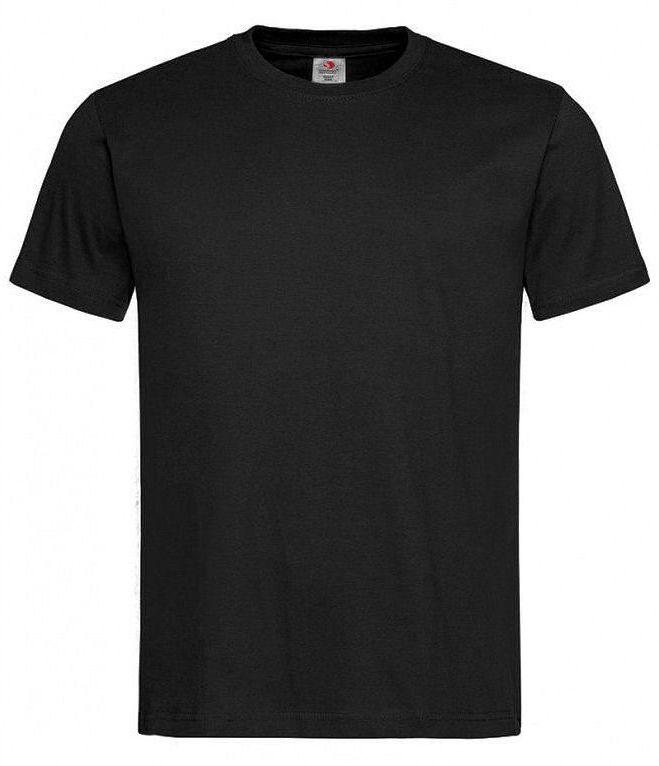 Czarny Bawełniany T-Shirt Męski Bez Nadruku -STEDMAN- Koszulka, Krótki Rękaw, Basic, U-neck TSJNPLST2000blackopal