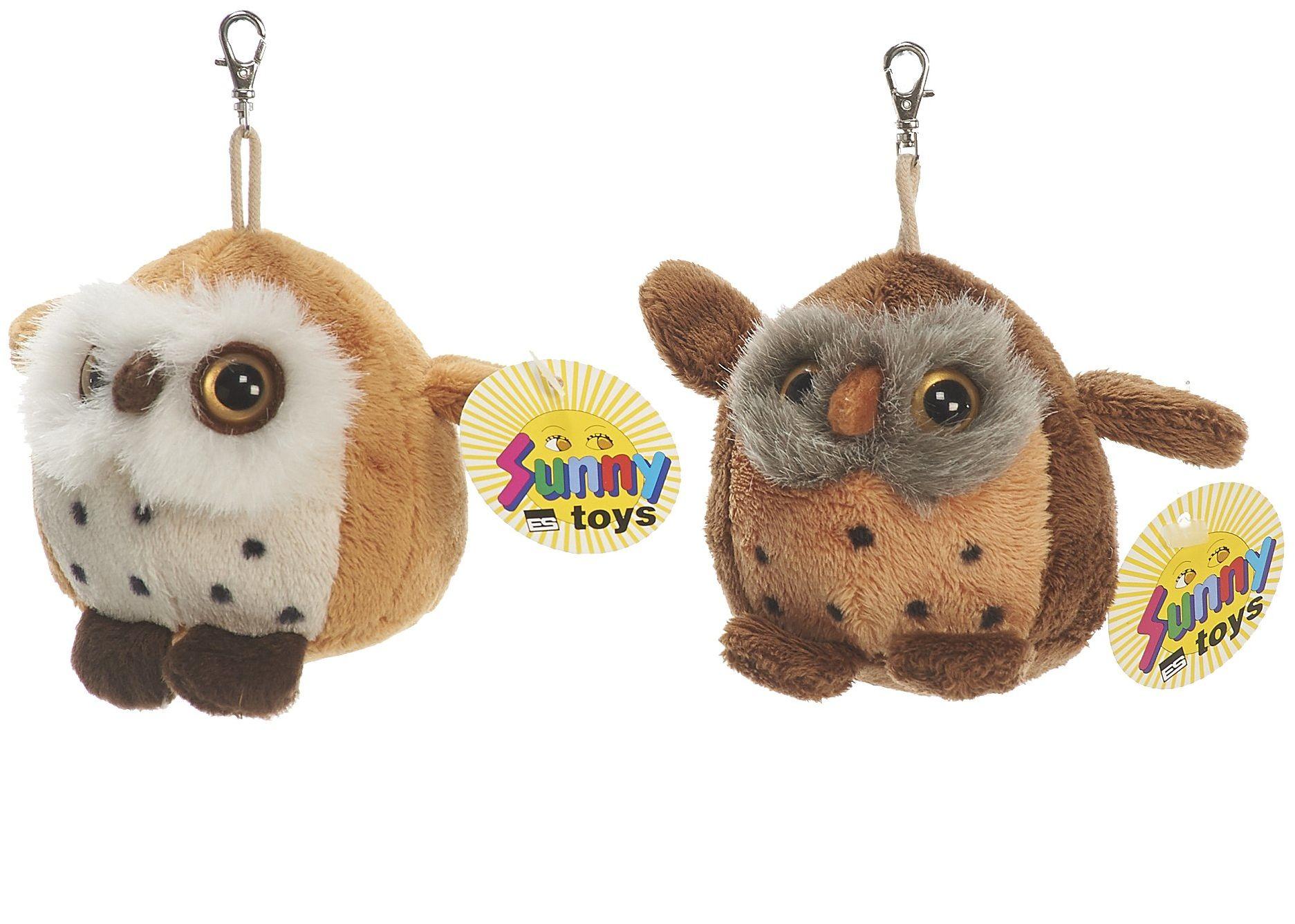 Sunny Toys 32676 - pluszowa sowa z breloczkiem do kluczy, około 8 cm, 2 kolory posortowane