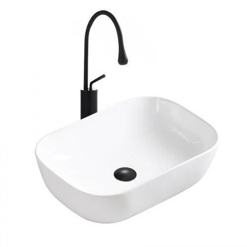 Umywalka nablatowa 45,5x32x14 cm, biała połysk