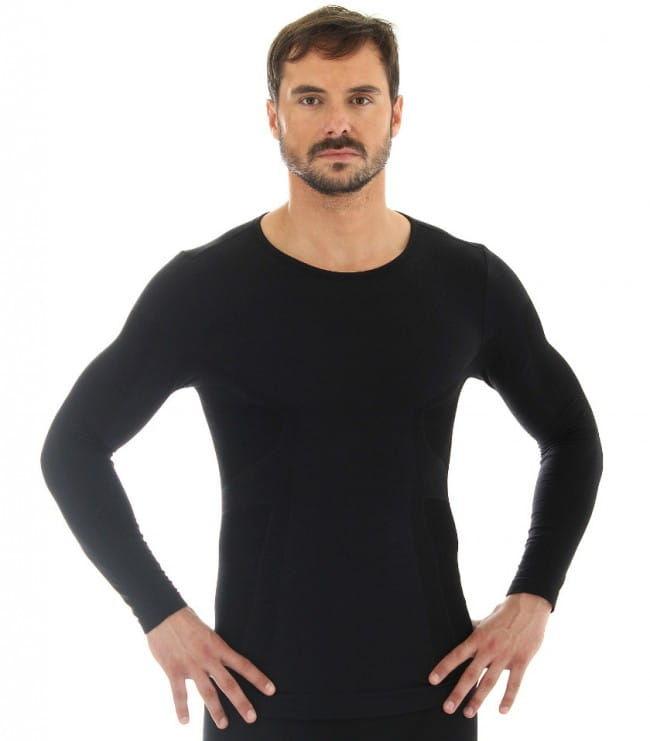 Koszulka męska długi rękaw Brubeck Comfort Wool LS11600 czarny