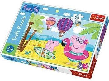 Puzzle dla dzieci Trefl 24 MAXI - Świnka Peppa na wakacjach, Peppa''s holidays