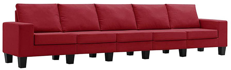 Ponadczasowa 5-osobowa sofa czerwone wino - Lurra 5Q