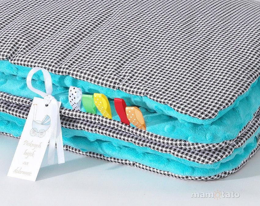 MAMO-TATO Kocyk Minky dla niemowląt i dzieci 75x100 Pepitka czarna / turkusowy