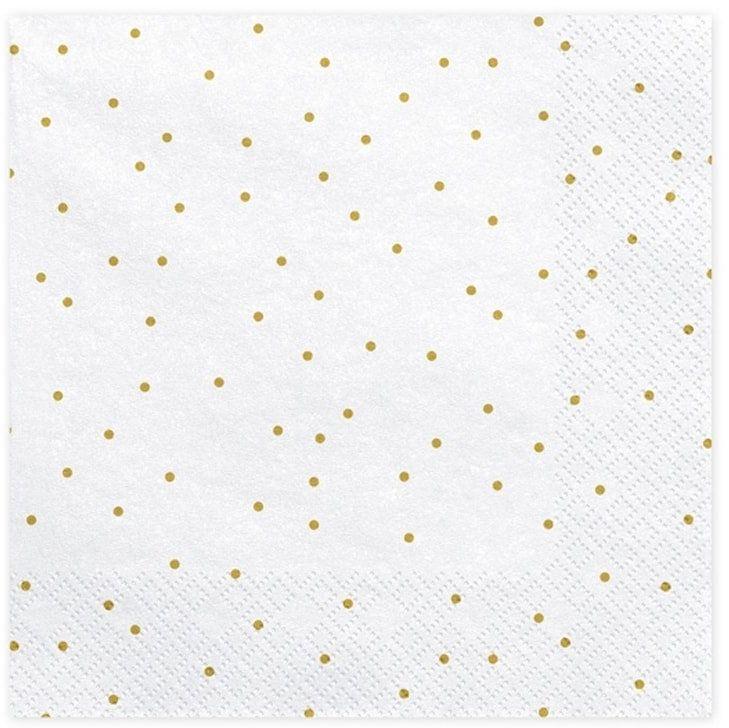 Serwetki urodzinowe białe w złote małe kropki - 33 cm - 20 szt.