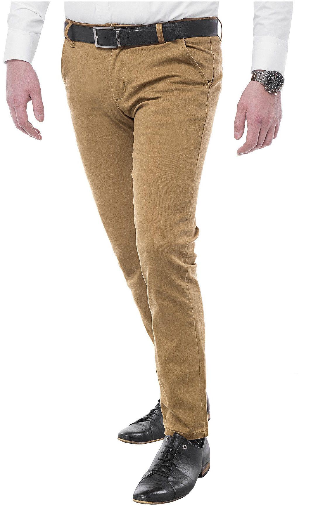 Spodnie męskie chinosy - 6101 - camelowe