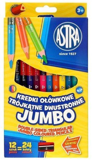 Kredki ołówkowe dwustronne Jumbo 12szt. ASTRA - ASTRA papiernicze