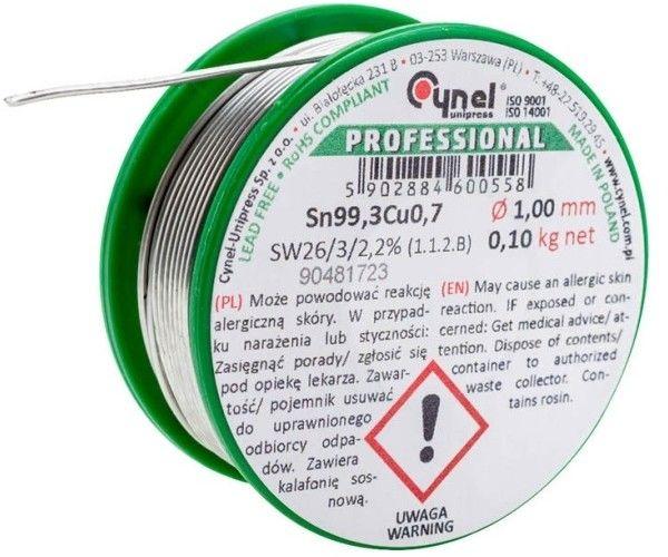 Spoiwo lutownicze bezołowiowe Cynel 1,0 mm 100 g