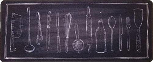 Wycieraczka, mata zatrzymująca brud, chodnik kuchenny, akcesoria kuchenne, antracyt, 45 x 75 cm, antypoślizgowa i nadająca się do prania