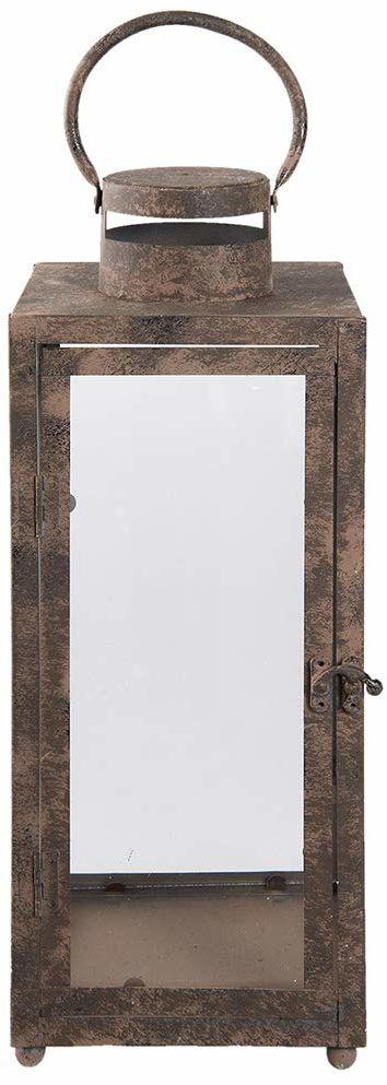 Clayre & Eef 6Y2733L latarnia/lampion format: 16 x 16 x 42,5 cm, kolor: brązowy, materiał: żelazo i szkło,