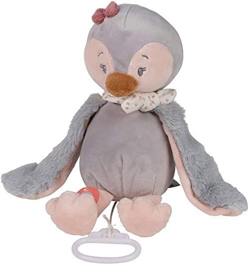 Nattou 244053 pozytywka Pingwin Sasha, Wiegelied La-Le-Lu , ok. 30 cm, Pauline i Sasha, jasnoszary/różowy