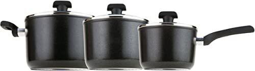 Prestige Duraforge aluminiowy rondel indukcyjny, czarny, zestaw 3 szt.