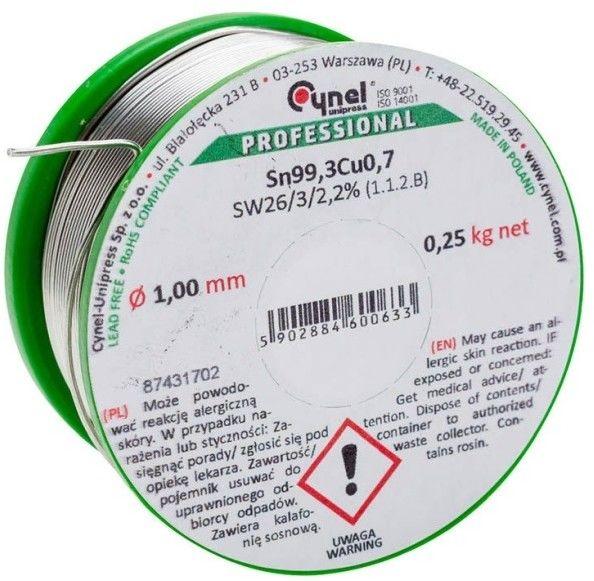 Spoiwo lutownicze bezołowiowe Cynel 1,0 mm 250 g