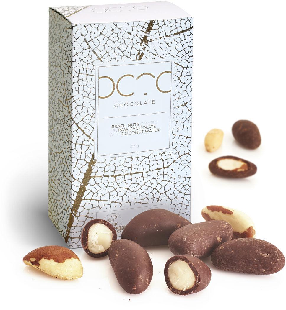 Orzechy brazylijskie w wegańskiej czekoladzie z wodą kokosową OCTO 200g RAW- BIO