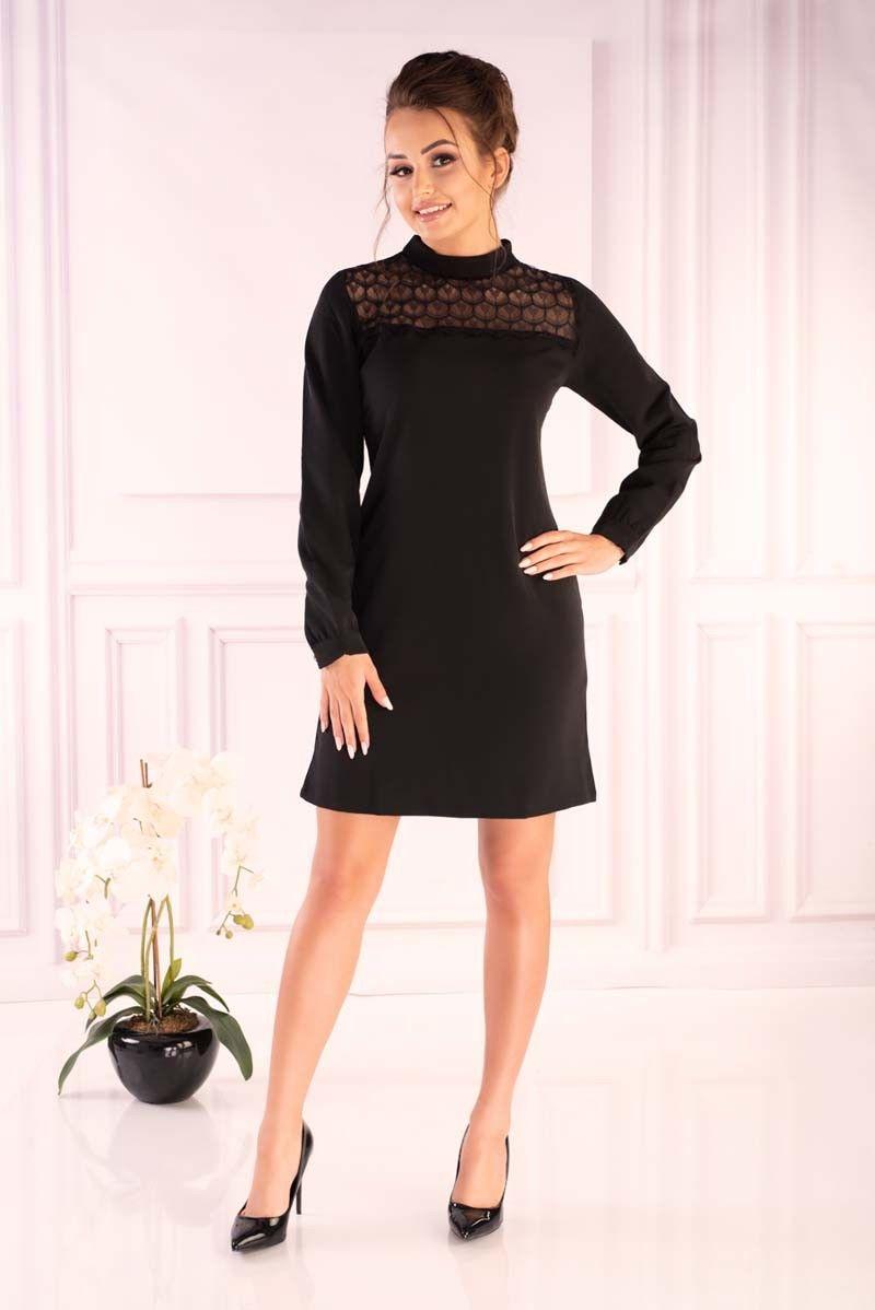Czarna wizytowa sukienka z koronkowym karczkiem