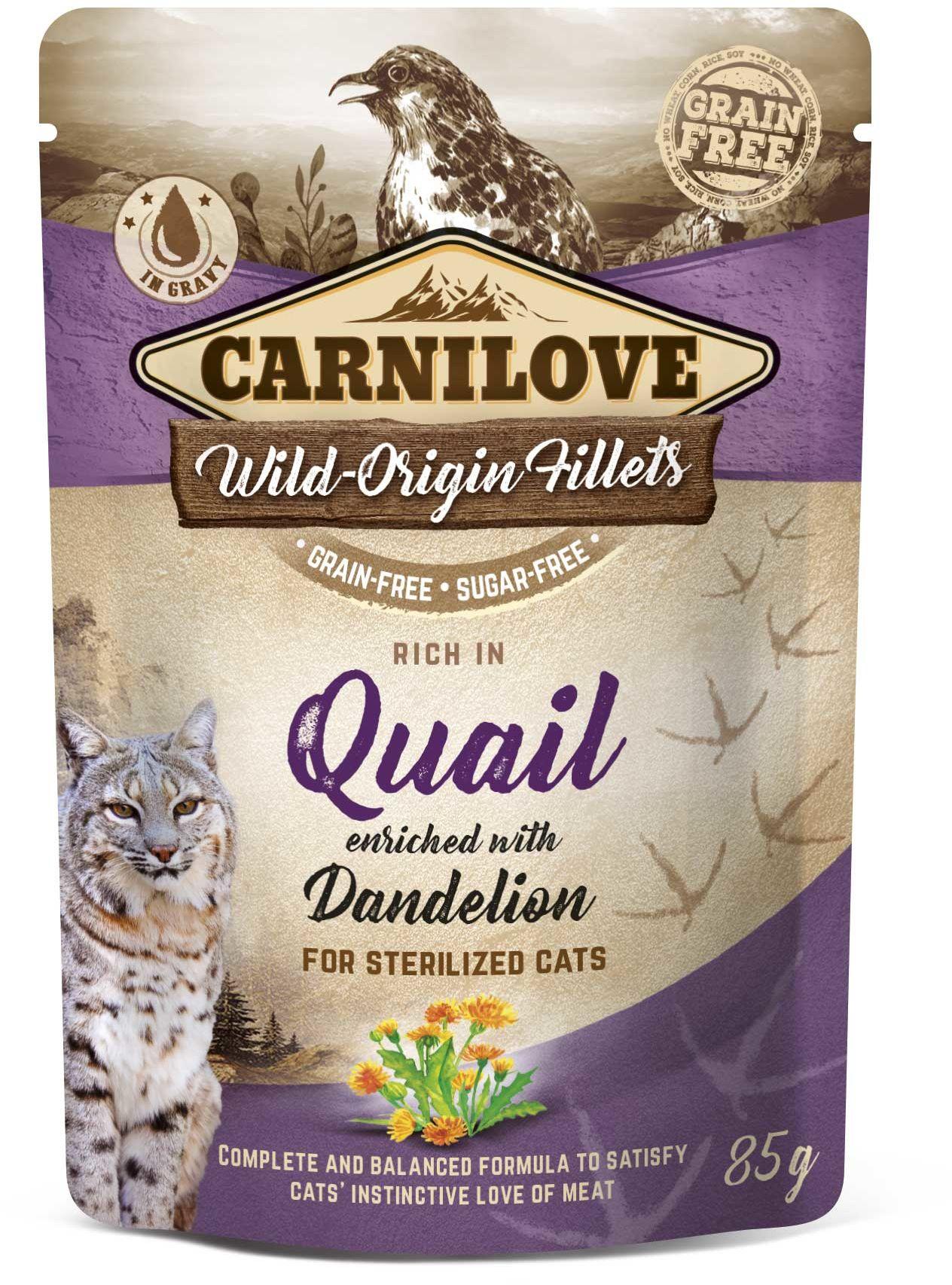 CARNILOVE cat pouch STERILISED QUAIL/dandelion