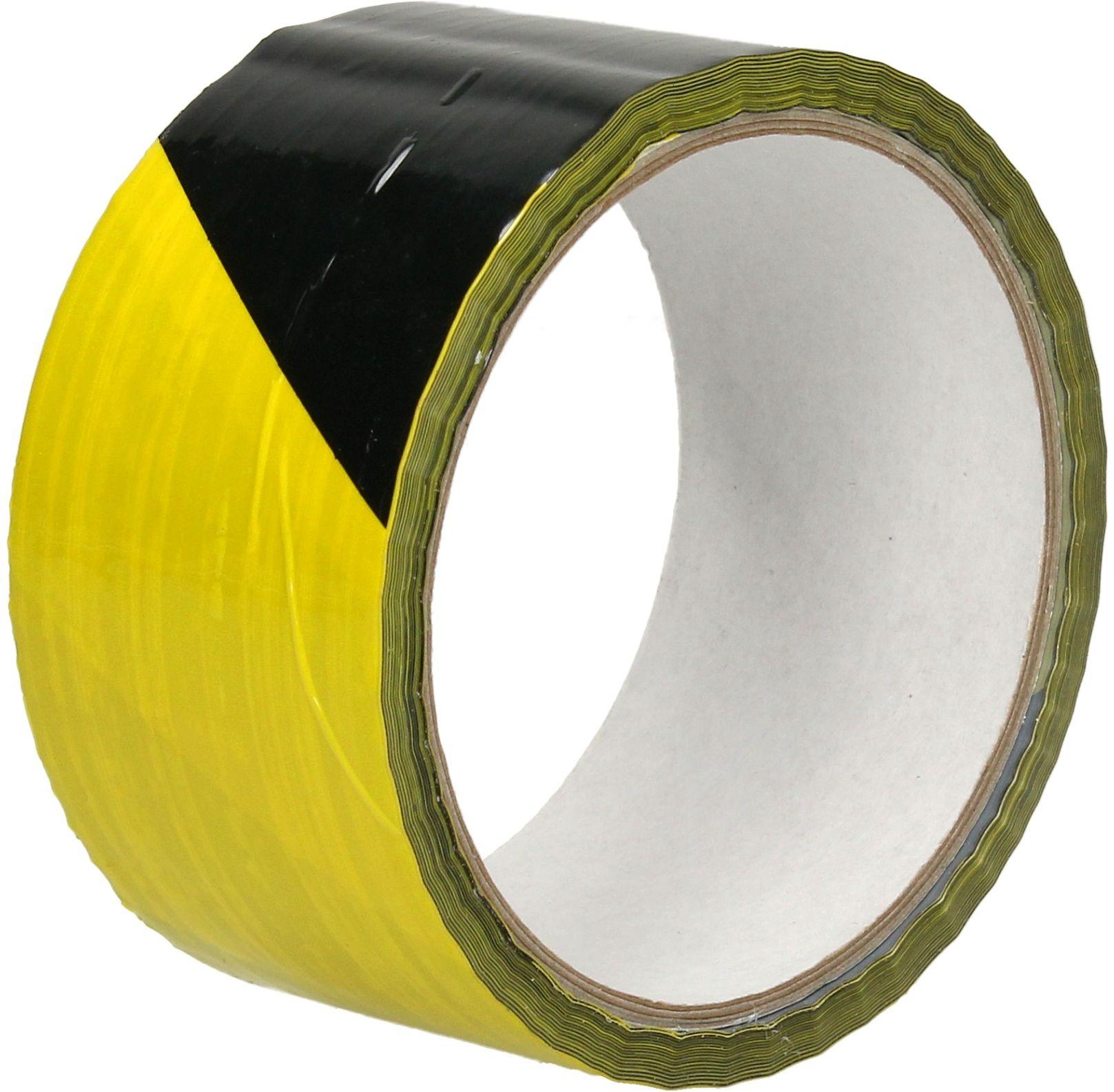 Taśma klejąca 48mmx33m żółto/czarna ostrzegawcza