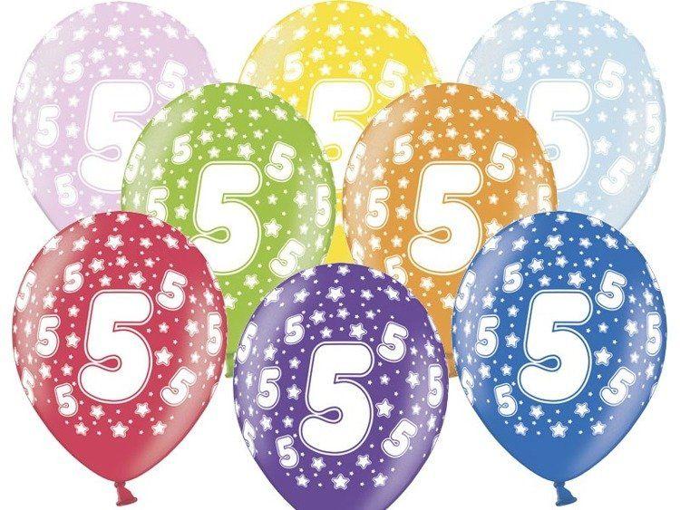 Balony 5 na piąte urodziny 6 sztuk SB14M-005-000-6