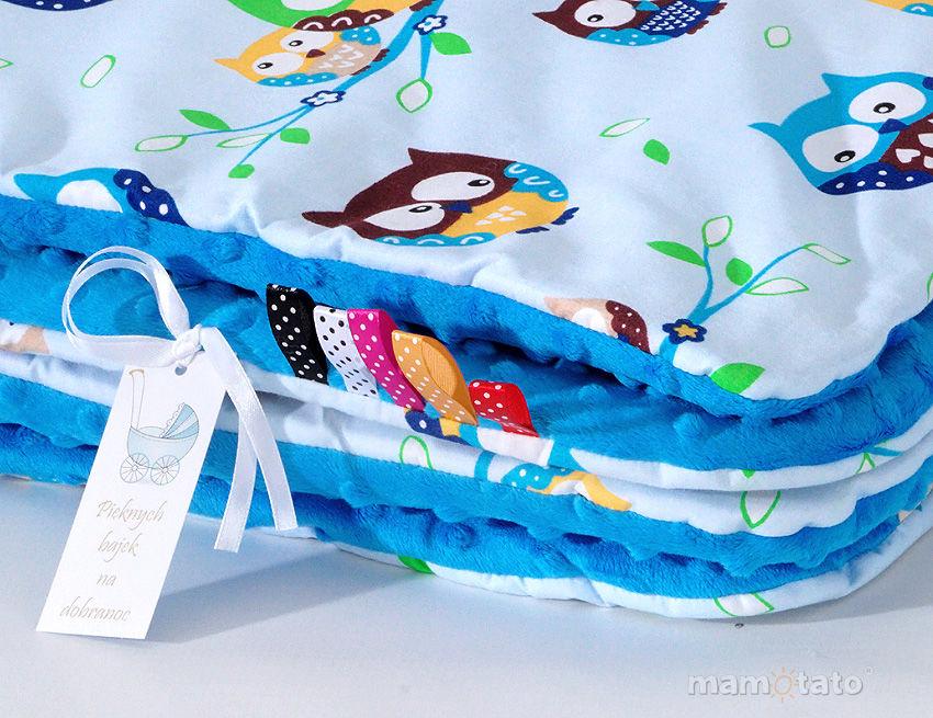 MAMO-TATO Komplet kocyk Minky do wózka + poduszka Sówki błękitne / niebieski - letni